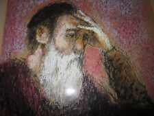 Original Pastel painting of Italian Old Wise Thinking Man by Mercacbo/Mercobo