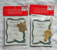 2 DISNEY'S CHRISTMAS COLLECTION TIGGER & MICKEY MOUSE BRASS 24 KT GOLD ORNAMENTS