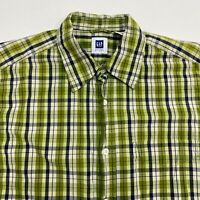 Gap Button Up Shirt Men's Medium Short Sleeve Green Plaid Casual 100% Cotton