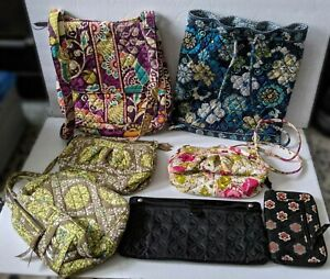 Lot of 7 Vera Bradley Backback Tote, Bookbag, Clutch, Wallet, Purses, Lunch Bag