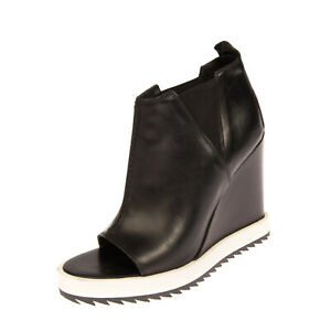 RRP €280 DONDUP Leather Booties Size 40 UK 7 US 10 Wedge Heel Made in Italy