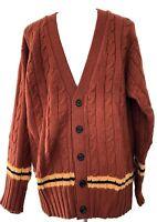 NEW & LINGWOOD MEN'S BRICK CASHMERE CARDIGAN SWEATER, L/XXL, $495