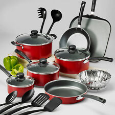 Nonstick Pots & Pans 18 Piece Cookware Set Kitchen Kitchenware Cooking RED