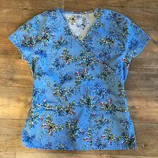 Barco Scrubs womens Medium Top - Blue Butterfly - Nursing CNA Shirt