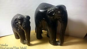 Vintage large Hand carved wood _ baby and mother Asian elephants made in India