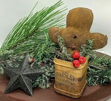 Primitive/Handmade Gingerbread Man in Rustic Can w/ Greens Holiday Tag Christmas