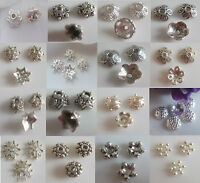 Rabatt-Großmenge-50-100-200 Metall-Perlen-Perlenkappen-Spacer silber 5mm-16,5mm