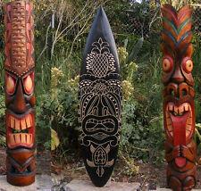 "Tribal Tiki Mask Package Deal Wood Patio Tropical Bar Decor 40""  2- masks 1-surf"