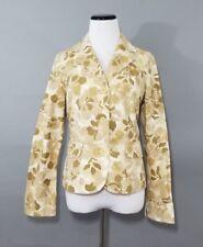 Eddie Bauer Womens Cream Beige Floral Camo Blazer Jacket 3 Button Front Size 8