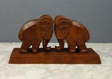 Ein Paar Vintage Buchstützen Elefanten Holz geschnitzt