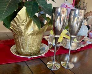 Toasting Wedding Champagne Glasses Pair Brand New