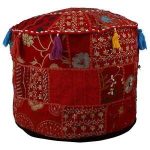 Bohemian Indien Patchwork Ottoman Floor Pillow Decorative Vintage Cotton Pouffe