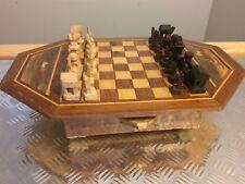 Jeu D Échec Bois Sculpté Marquetterie Ancien Chess Game Vintage Echiquier