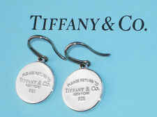 Tiffany & Co Return To Tiffany Round Tag Drop Sterling Silver Earrings
