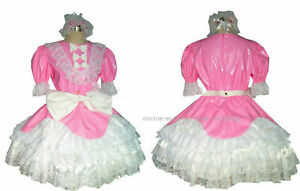 PVC Sissy Maid Pink Dress Cosplay Costume Tailor-made Free shipping