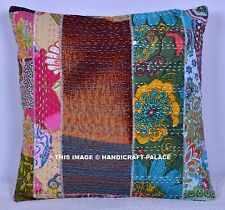 """Indian 16"""" Multi Embroidered Patchwork Kantha Cushion Cover Throw Pillow Cover"""