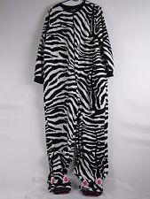 Nick & Nora Zebra Footed Pajamas XXL 2XL Black White Striped One Piece