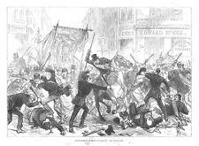 Glasgow irlandés Home Rule disturbios-Antiguo impresión 1880