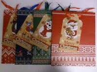 Set of 4 Christmas  Giant Label  Large Gift Bags with glitter effect