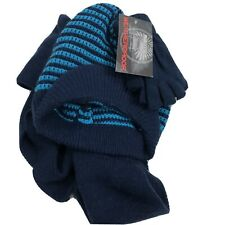 Weatherproof Hat And Gloves And Scarf Set Unisex Blue Stripes One Size Fits Most