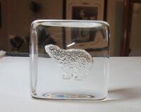 Signed clear studio art glass Polar Bear paperweight