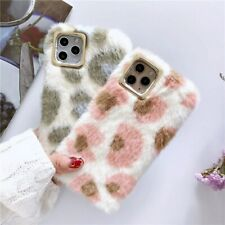 Xmas Gift Fashion Woman Warm Winter Leopard Fur Fluffy Plush Shell Case Cover