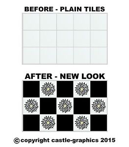 """Squares + Flowers Stickers Stencils For 6"""" x 6 Inch 150mm Kitchen Bathroom Tiles"""