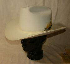 Vintage White Stetson 5X Beaver Cowboy Hat Rancher W/Box 7 1/8 W/Feather