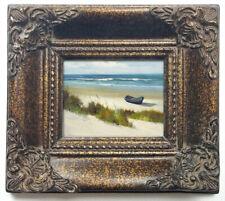 Framed miniature oil painting art of white sand beach blue ocean in ornate frame