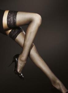 Bas sexy résille autofixant femme jarretière dentelle noir rouge FIORE T2 T3 T4