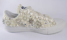 Womens Wedding pearl crystal bridal flat Customised Low High Top Converse Sizes