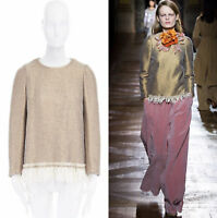 runway DRIES VAN NOTEN AW15 gold coated cream wool fringe hem sweater top FR40 M