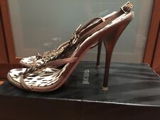 Roberto Cavalli Feather-embellished leather sandals brown 38