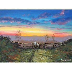 Pete Rumney Original Canvas Art Watching The Sun Go Down Signed Handpainted NR