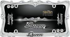 Queen License Plate Frame - Chrome with CleBliar ng Crystals - wi. Diamond Caps!