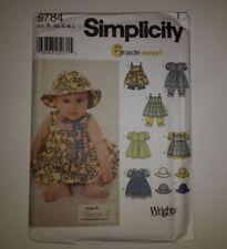 Simplicity 9784 Size xs-l Babies Dress Pinafore Panties Pantaloons Hat