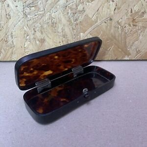Vintage Faux Tortoise Shell Rectangular Lidded Trinket Box Glasses Pen Case