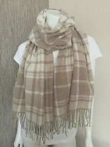 POLO RALPH LAUREN CAMEL & OATMEAL CHECK WOOL BLEND SCARF SHAWL MADE IN ITALY