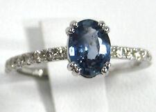 Blue Sapphire Ring Solitaire 14K White Gold VS Ceylon Heirloom $1,614