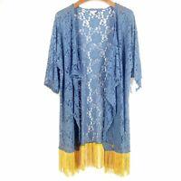 LuLaRoe 'Monroe' Blue Lace Kimono Gold Fringe Large