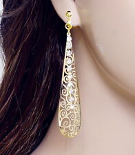 "#E122M PAIR 3.2"" long CLIP ON EARRINGS Dangle Teardrop Clear Crystal Gold Plated"