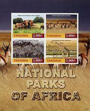 Tanzania 2015 MNH National Parks Africa 4v M/S II Etosha Elephants Zebras Stamps