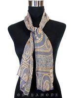 Echarpe étole Foulard 125 X 24 cm Bleu Gris 100% Soie Graphique TBE Silk Scarf