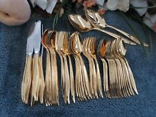 Oneida Craft 18/8 USA Deluxe Stainless GOLD GOLDEN TEXTURA 50pc Set Excellent