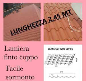LAMIERA ONDULATA FINTO COPPO COPERTURA TETTO LUNGA 2,45 Mt Sp 0,5
