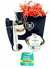 PURE BRISTLE SHAVING BRUSH MENS STRAIGHT RAZOR SHAVING FULL SIZE KIT GIFT SET