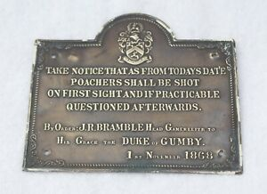 Vintage Brass Poachers Plaque POACHERS WILL BE SHOT Duke of GRUMBY Hunting Inter