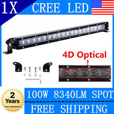 21 inch 100W Slim CREE Single Row Spot Led Offroad Light bar Jeep Boat 4X4 20""