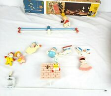 VINTAGE Mother Goose Musical Crib Mobile, IRMI M815 Wooden, Hand Painted WORKS