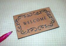 "Miniature Elegant Black and Tan ""WELCOME"" Door Mat #8: DOLLHOUSE Miniatures 1:12"